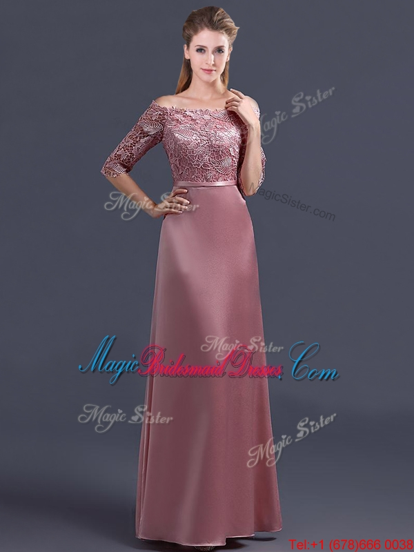 2016 Sweet Off the Shoulder Half Sleeves Bridesmaid Dress with Lace ...
