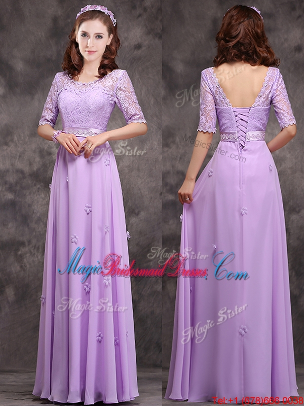 Scoop Half Sleeves Lavender Bridesmaid Dress with Appliques and Lace