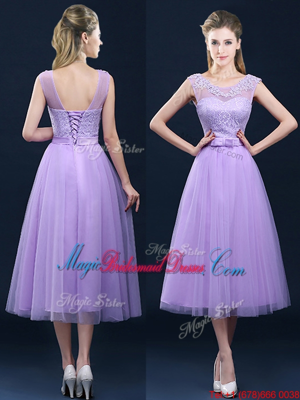 Popular See Through Applique and Belt Bridesmaid Dress in Tulle