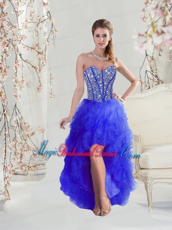 2016 Cheap Beaded and Ruffles High Low Bridesmaid Dresses in Royal Blue