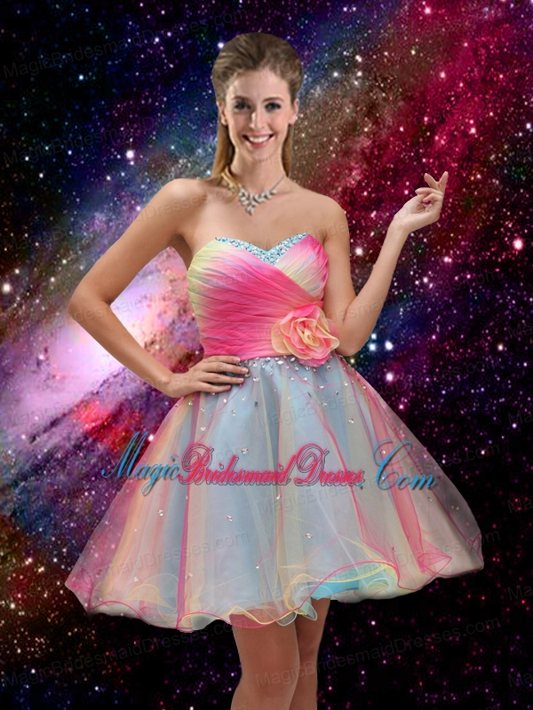 2016 New Style A Line Hand Made Flower and Beaded Prom Dresses in Multi Color