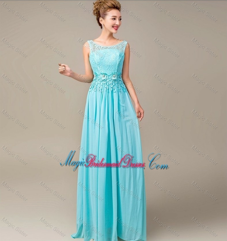 Discount Lace Up Appliques and Laced Bridesmaid Dresses in Aqua Blue