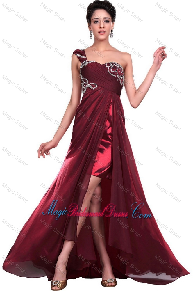 Wonderful One Shoulder Wine Red Bridesmaid Dresses with Beading for 2016
