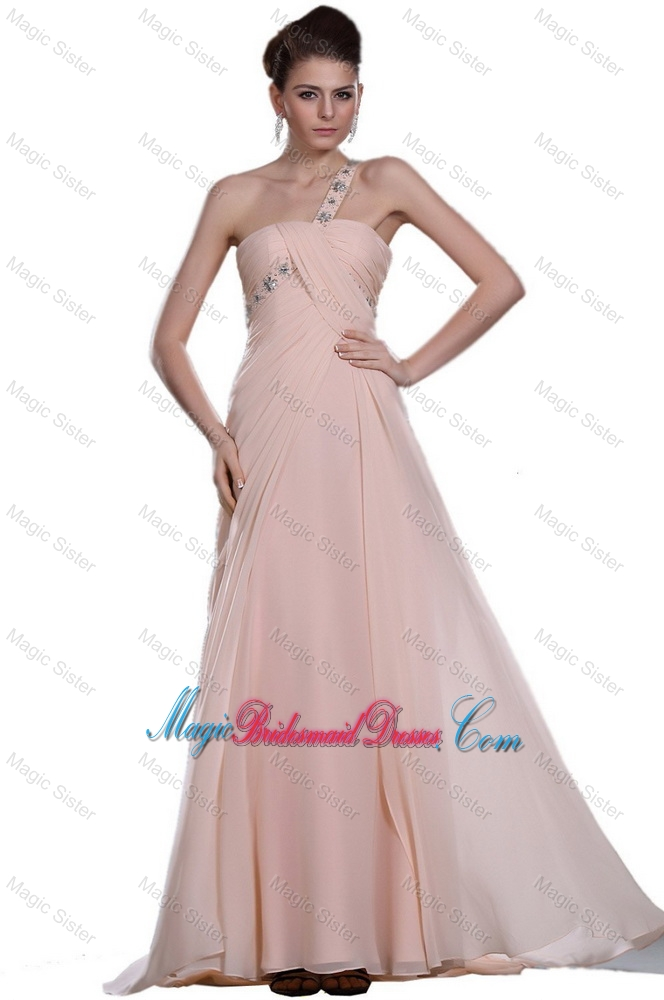 Discount Beaded Brush Train Bridesmaid Dresses with One Shoulder