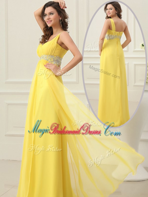 Cheap Empire One Shoulder Beading Stunning Bridesmaid Dresses in Yellow