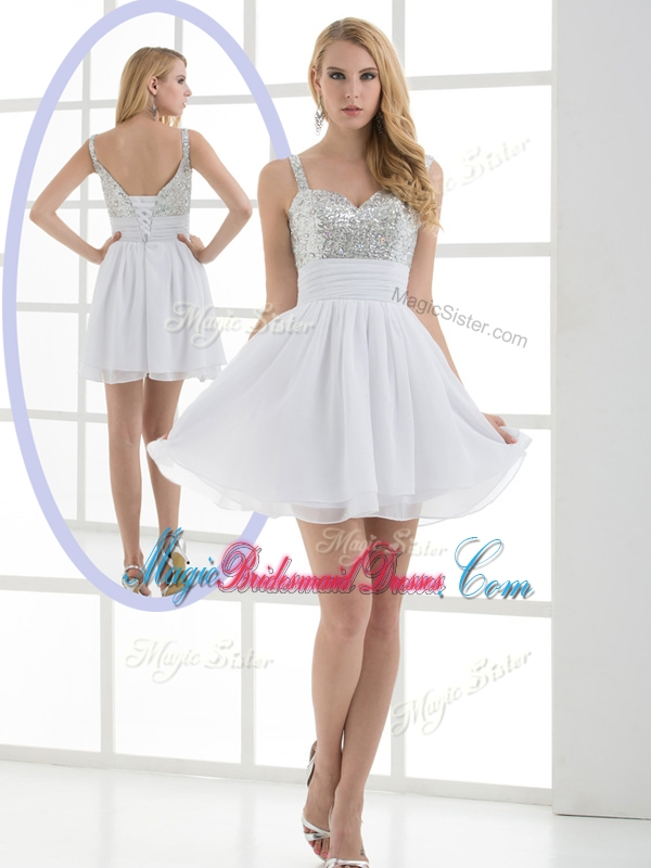 Fashionable Straps Sequins Short Stunning Bridesmaid Dresses for Graduation