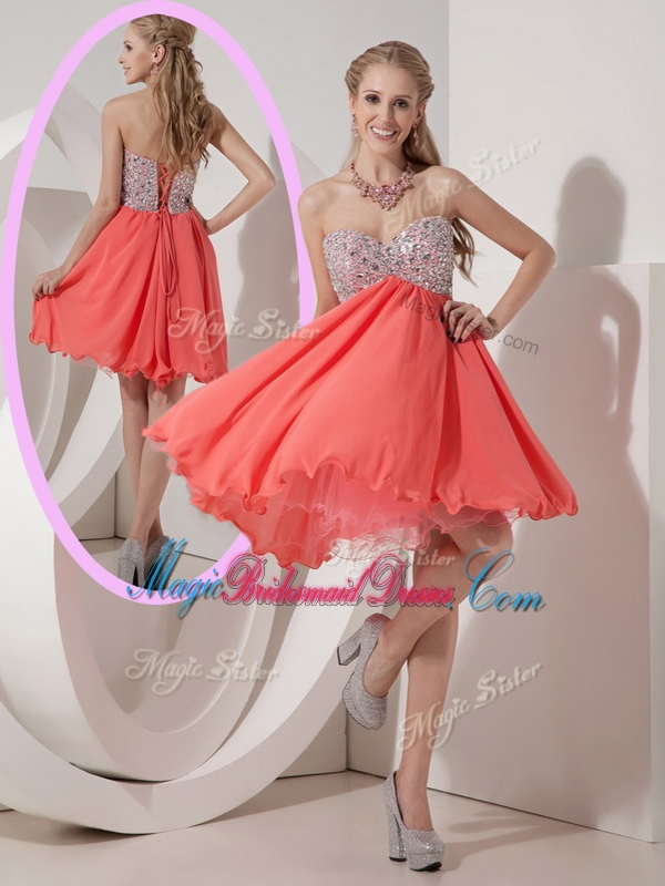 Lovely Sweetheart Mini Length Beading Stunning Bridesmaid Dresses for Homecoming