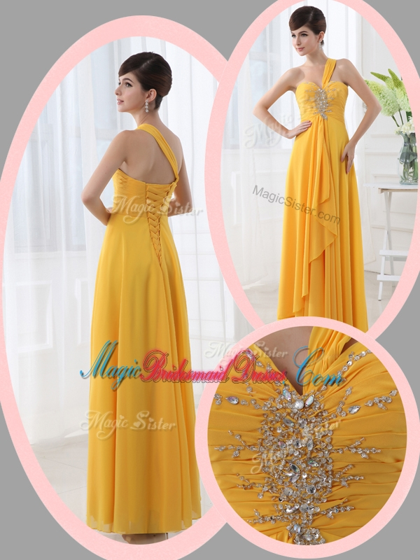 Beautiful Empire One Shoulder Beading Orange Trendy Bridesmaid Dresses for Holiday