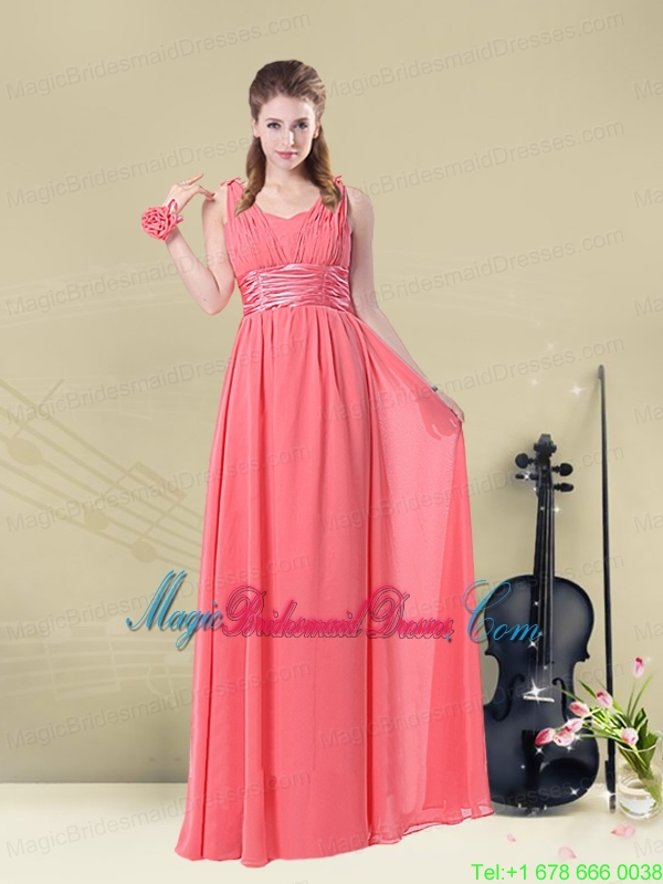 Super Hot Straps Floor Length Bridesmaid Dress with Belt