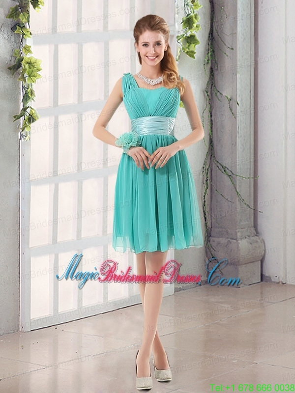 Straps Ruching Sweetheart A Line 2015 Elegant Bridesmaid Dress