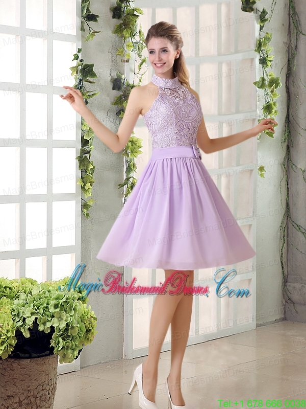 High Neck Lilac A Line Lace Bridesmaid Dress Chiffon for 2015