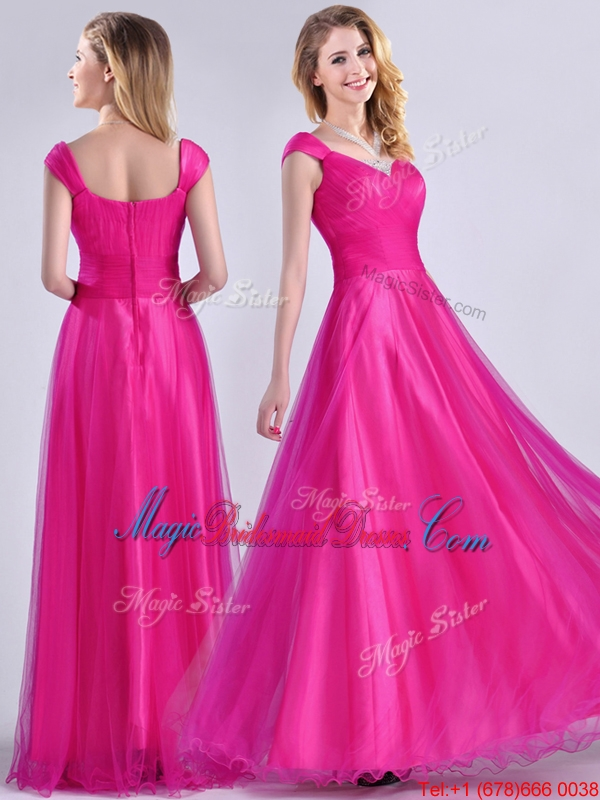 Exclusive Organza Beaded Top Hot Pink Bridesmaid Dress with Cap Sleeves