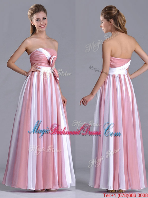Hot Bowknot Strapless White And Pink Bridesmaid Dress With Side Zipper