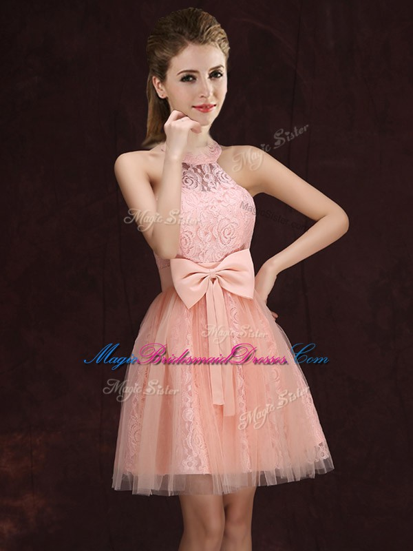 Halter Top Sleeveless Mini Length Lace and Bowknot Lace Up Wedding Guest Dresses with Peach