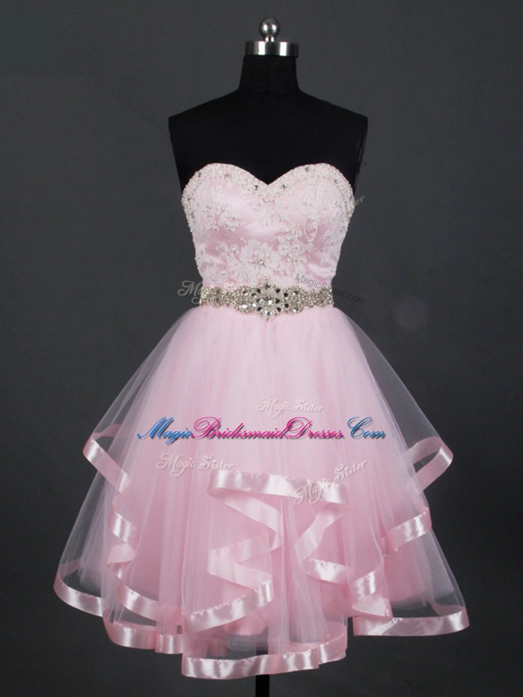 Beauteous Sleeveless Tulle Mini Length Zipper Wedding Party Dress in Baby Pink with Beading and Lace and Ruffles