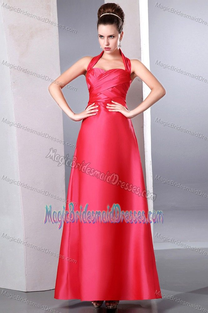 Halter Ruched Coral Red Column Ankle-length Bridesmaids Gown in Belfast