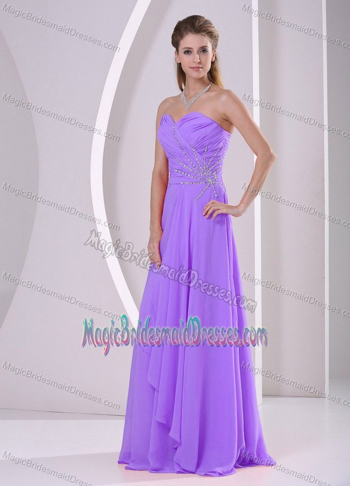 Brest France Purple Sweetheart Beaded and Ruched Bridesmaid Dress