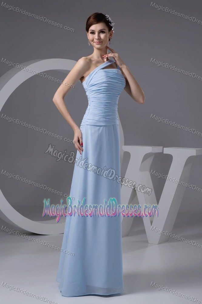 Brits South Africa  city pictures gallery : Brits South Africa Light Blue One Shoulder Ruches Bridesmaid Dress