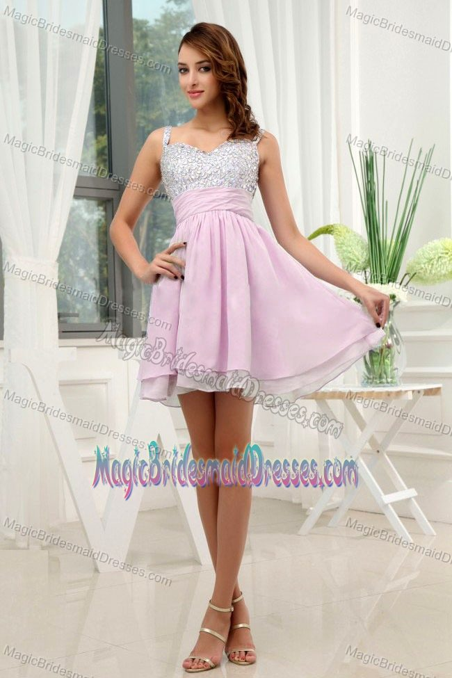 Mini-length A-Line Beading Rose Pink Straps Bridesmaid Dress 2014