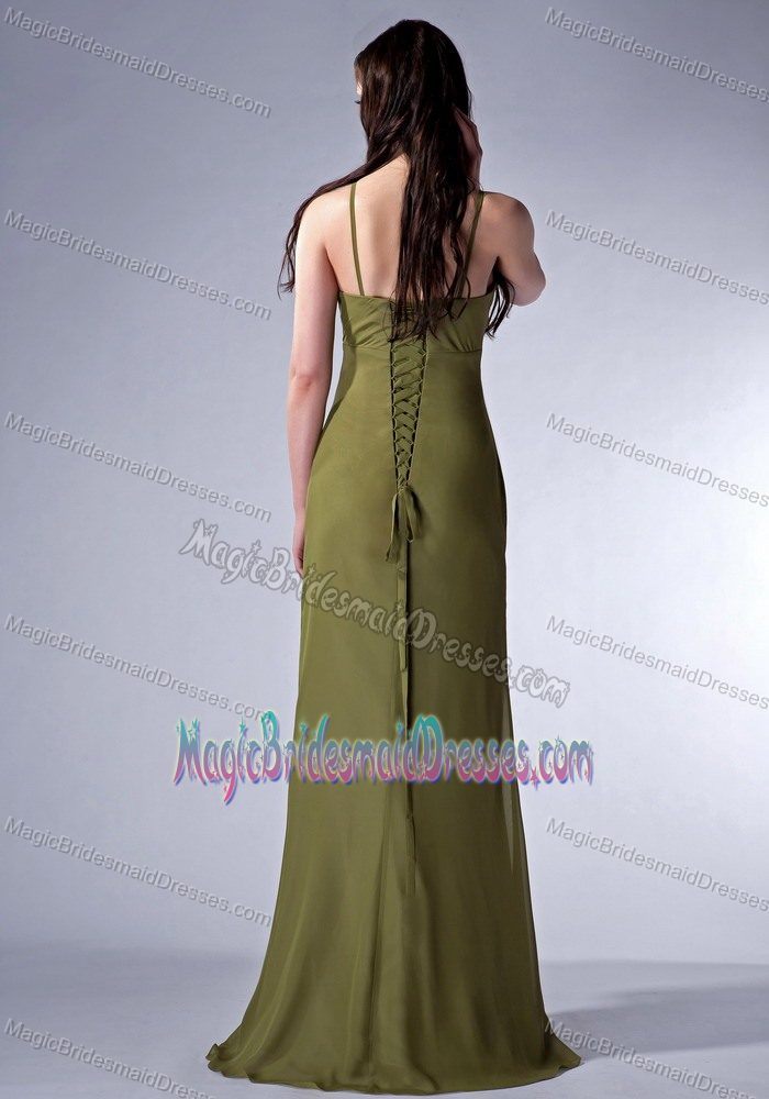 Chiffon Olive Green New V-neck Bridemaid Dress for Church Wedding