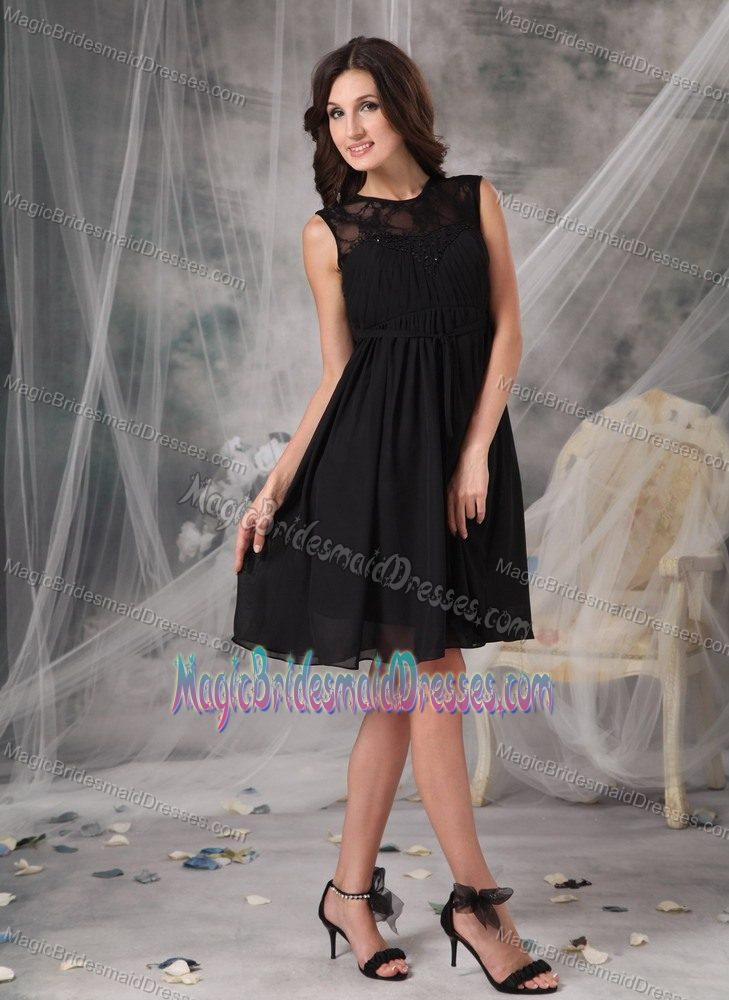 High-neck Black Empire Lace Chiffon Knee-length Bridesmaid Dress