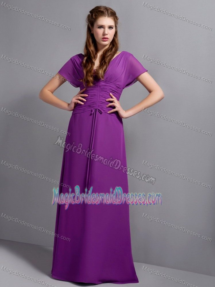 Purple V-neck Bridesmaid Dresses with Butterfly Sleeves