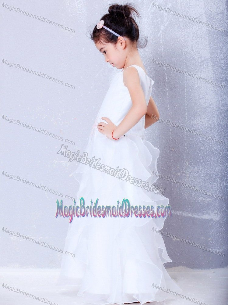 A-line Scoop Beading and Ruffles Junior Bridesmaid Dress in White