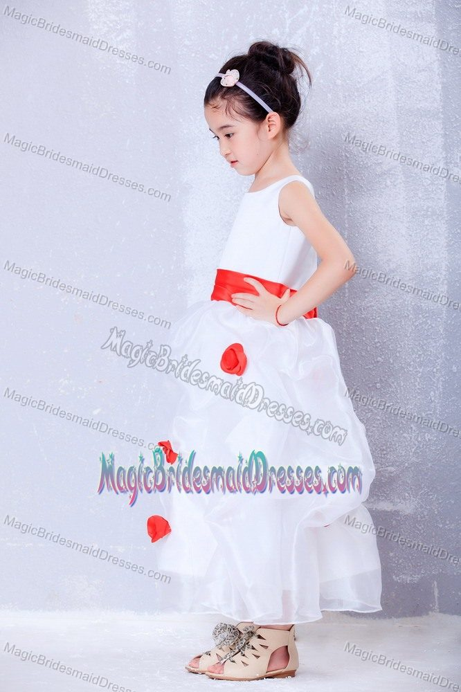 Flowers A-line Scoop White and Red Junior Bridesmaid Dress in Maine