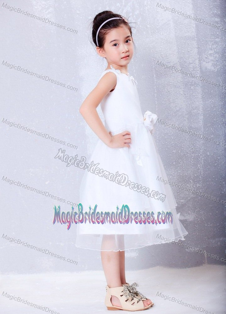 Idaho White A-line Scoop Hand Made Flower Junior Bridesmaid Dress