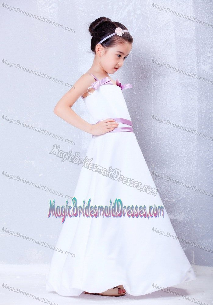 White and Lavender A-line Straps Junior Bridesmaid Dress in Texas