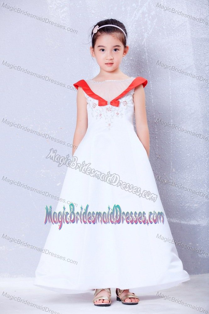 Cute White and Red Scoop Embroidery A-line Junior Bridesmaid Dress