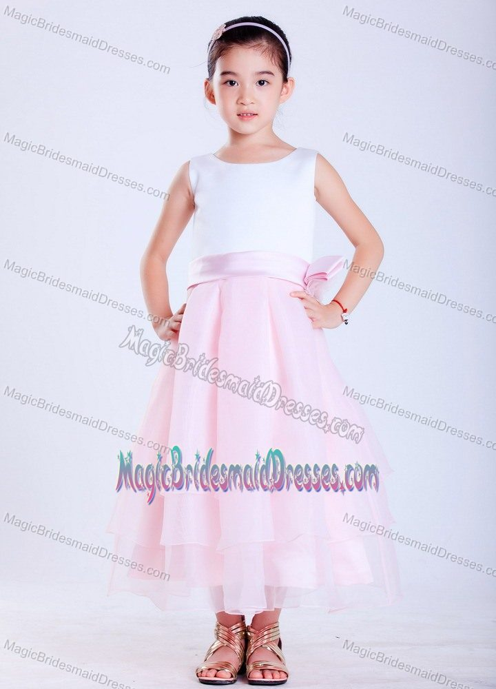 Hand Made Flower Scoop Junior Bridesmaid Dress in White and Pink