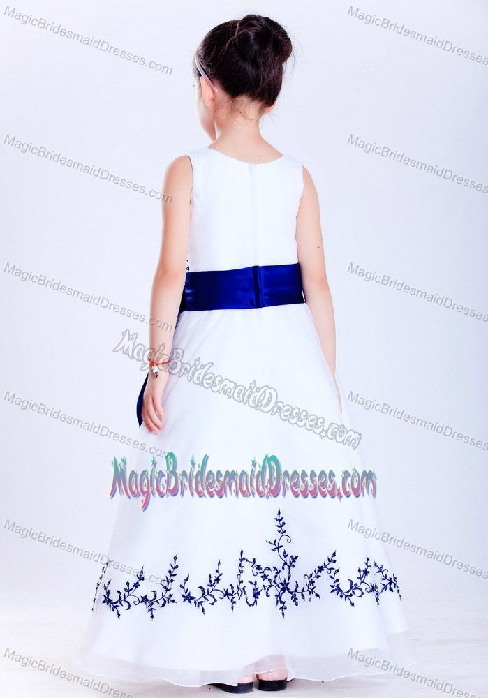 White and Blue A-line Bateau Embroidery Junior Bridesmaid Dress