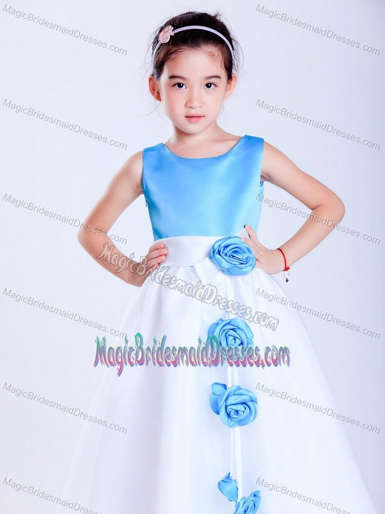 Flowers White and Baby Blue A-line Scoop Junior Bridesmaid Dress