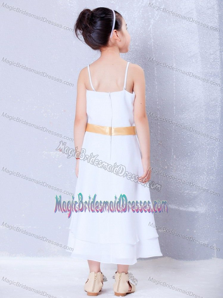 North Dakota Hand Made Flower White Straps Junior Bridesmaid Dress