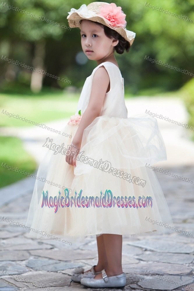 Flower Scoop Tulle Junior Bridesmaid Dress in White and Champagne