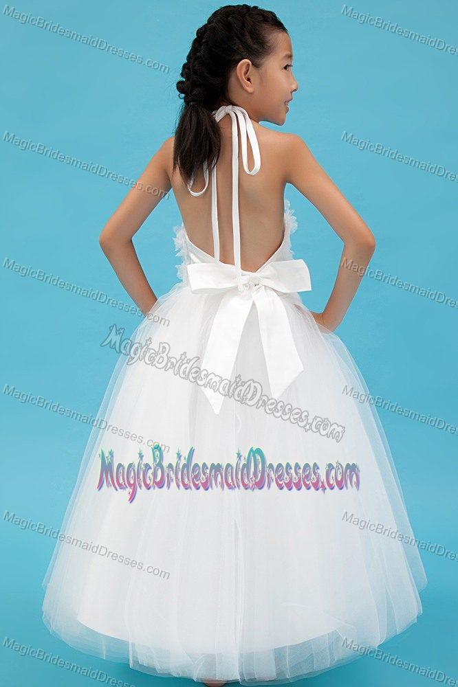 Appliques White Halter A-line Junior Bridesmaid Dress in Wisconsin