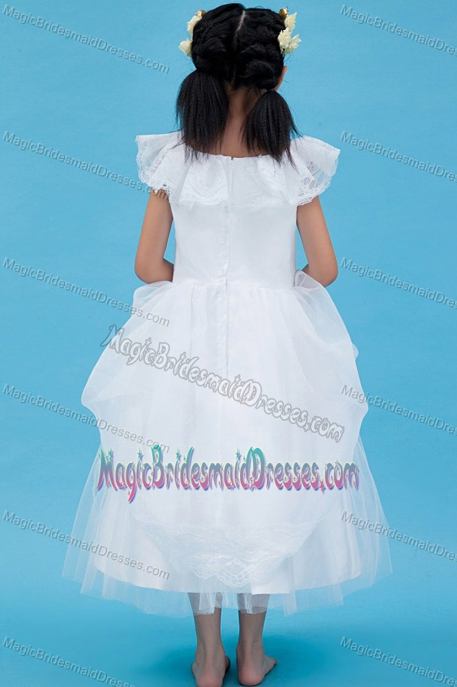 Cute White A-line Scoop Lace Junior Bridesmaid Dress in Louisiana