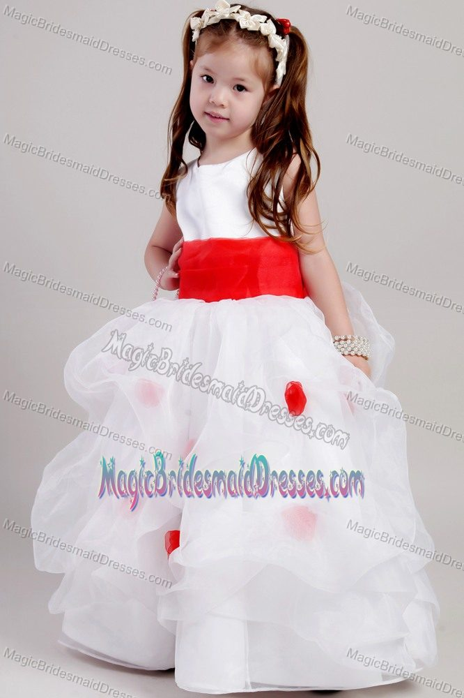 A-line Scoop White and Red Junior Bridesmaid Dress in Tennessee