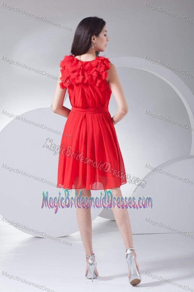 Pretty Bateau Ruched Red Bridesmaid Dresses for Girls in Stirling