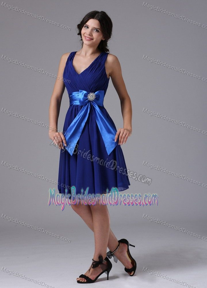 Blue Dress for Bridesmaid in Glendive with Bowknot