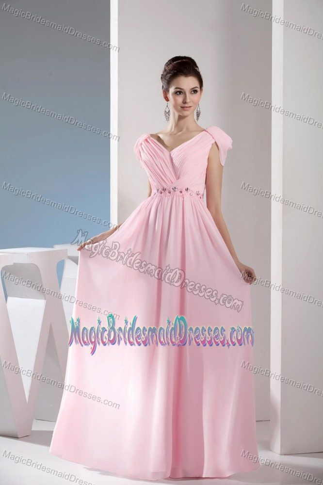 dad03935cd23 Empire V-neck Light Pink Long Bridesmaid Gowns with Beading