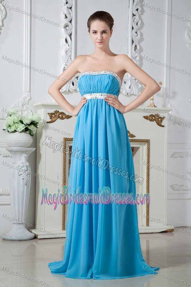 Strapless Aqua Blue Junior Bridesmaid Dress Brush Train