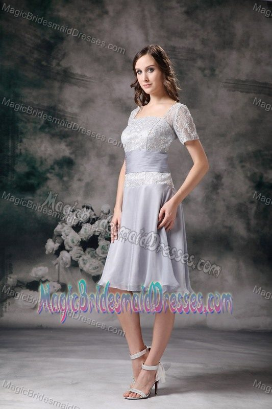 Short Sleeves Square Neck Lace Bridemaid Dress For Casper