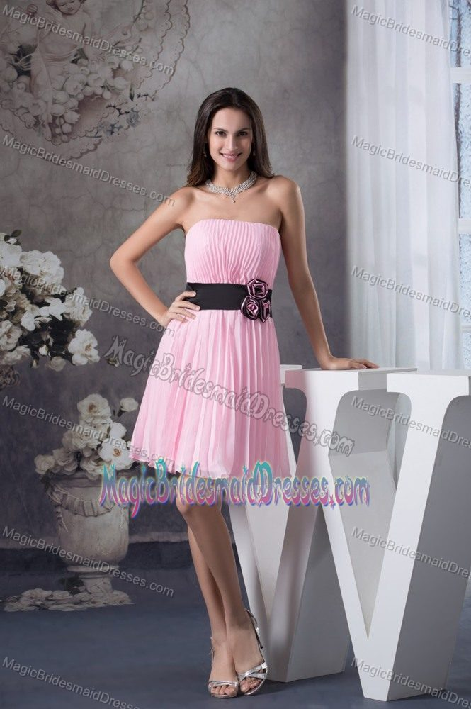 Handmade Flower Strapless Black Sash Pleated Pink Bridesmaid Dress