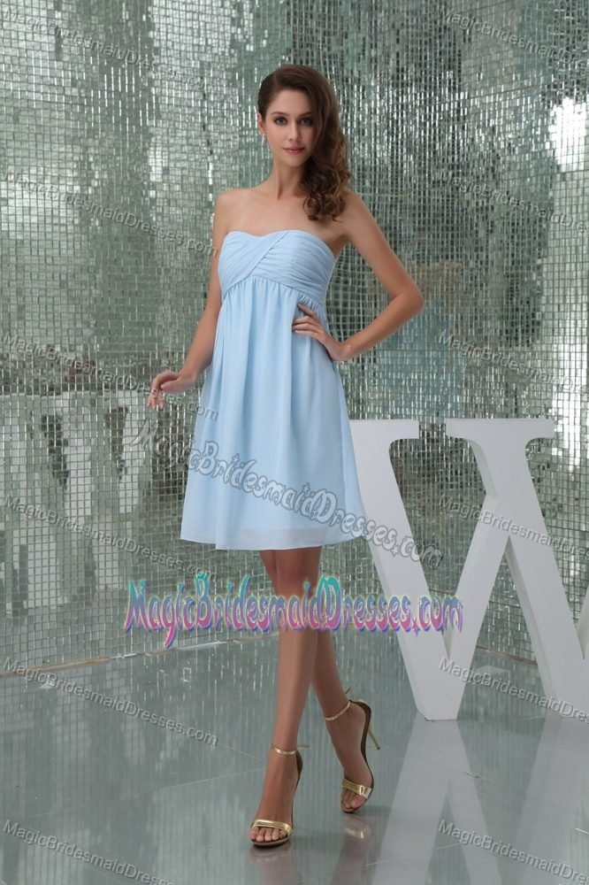 Ruched Sweetheart Baby Blue Chiffon Birmingham Bridesmaid Dress