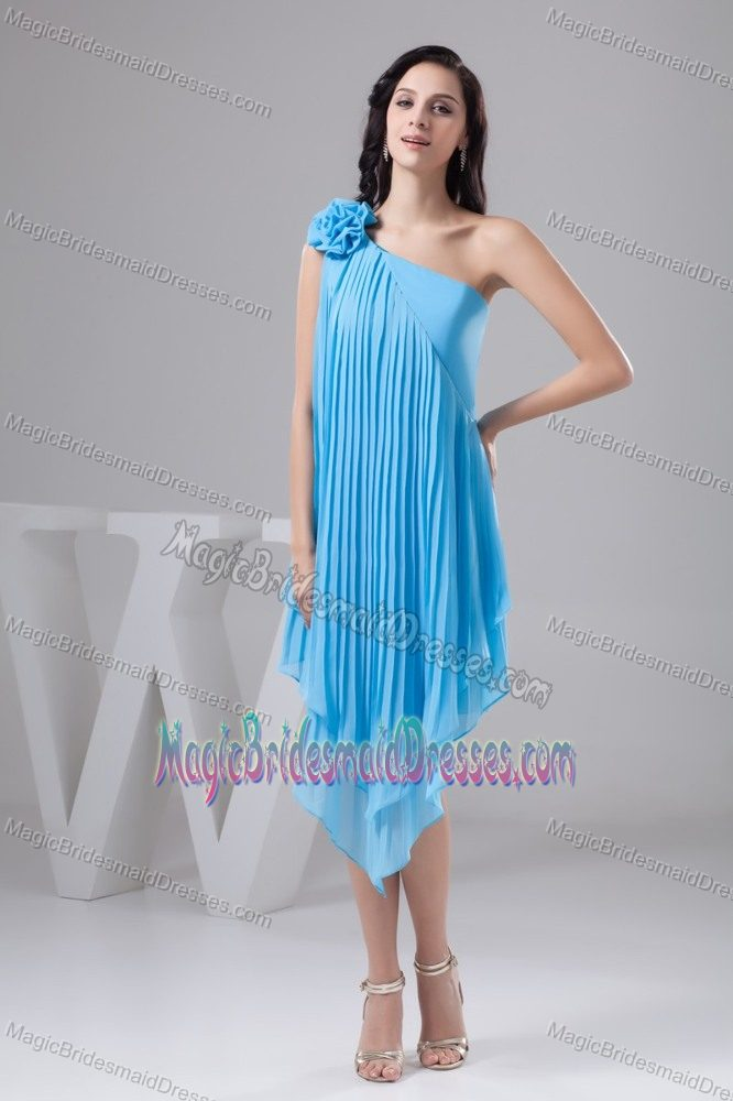 Asymmetrical Aqua Blue Maternity Bridesmaid Dress with Pleats and Flowers