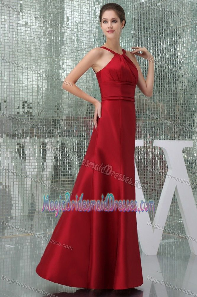 Ruched High-Neck Mother Maternity Bridesmaid Dress in Wine Red