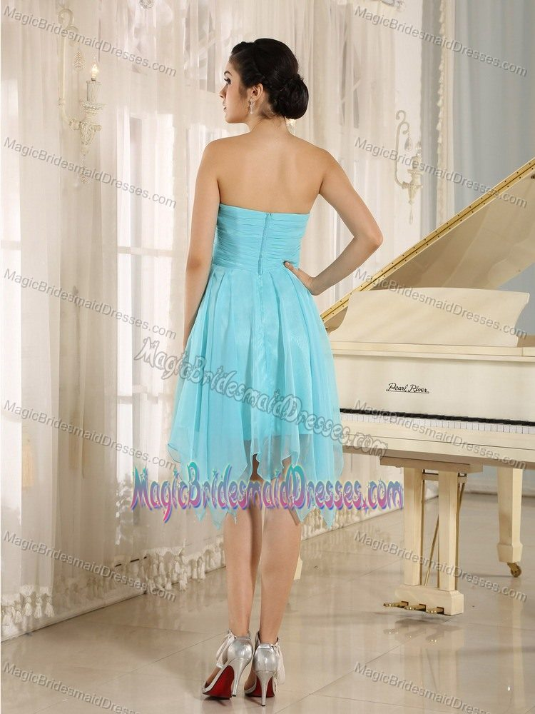 Handkerchief for Baby Blue Beaded Sweetheart Short Dresses for Bridesmaid