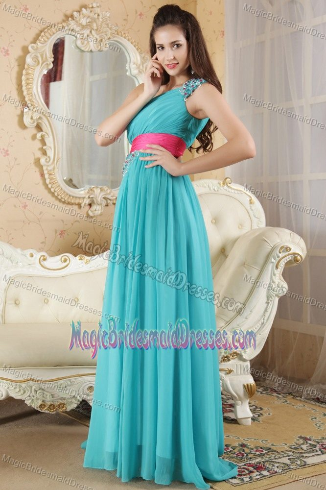 Weare Hot Pink Sash for Teal Beading One Shoulder Bridesmaids Dresses